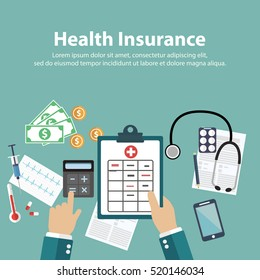 Man fills in the form of health insurance. Healthcare concept. Vector illustration flat design style. Life planning. Claim form. Medical equipment, money, prescription medications