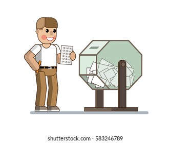 The man fills out a questionnaire and involved in the action (In a lottery, in the competition). Lottery shop. Illustration in a flat style. Vector illustration Eps10 file.