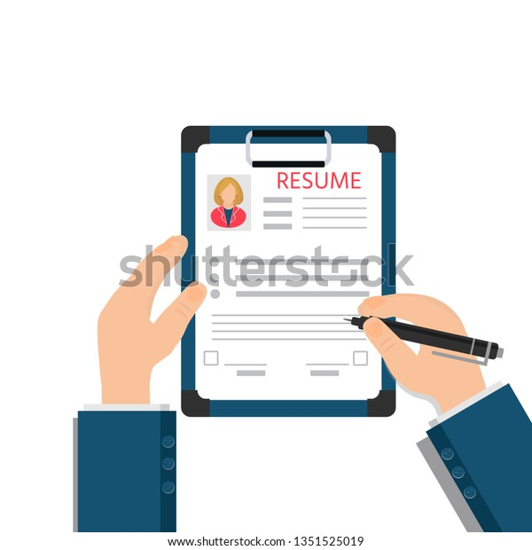Man Fills Questionnaire Resume Application Form Stock Vector