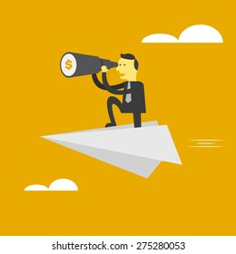 Man finding money . business concept vector