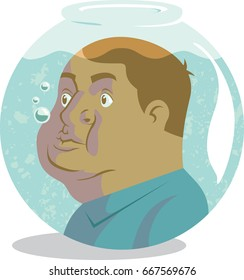 Man finds himself submerged underwater in a fishbowl