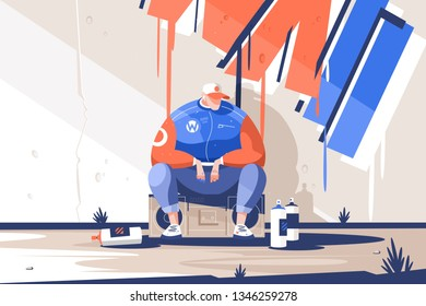 Man finishing draw new graffiti on wall vector illustration. Urban painter artist sitting on tape recorder near spray paint picture flat style design. Street art concept