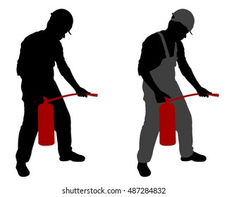 man with fire extinguisher - vector
