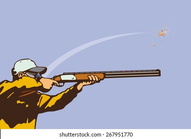 A man fires a rifle.Clay Pigeon Shooting.Vector illustration.