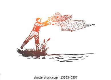 Man, fishing, net, river, nature concept. Hand drawn fisherman throws nets concept sketch. Isolated vector illustration.