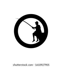 man fishing within a circle, fishing logo template