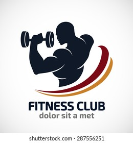 Man  of fitness silhouette character vector design template,Fitness logo