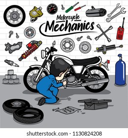 Man fix Motorcycle repairs with tool kit
