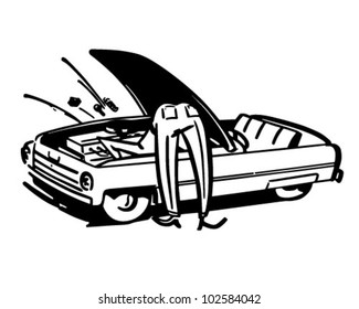 Man Fixing Car - Retro Clipart Illustration