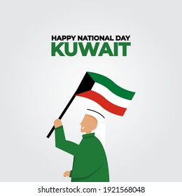 Man with flag and fireworks flat design kuwait national day vektor