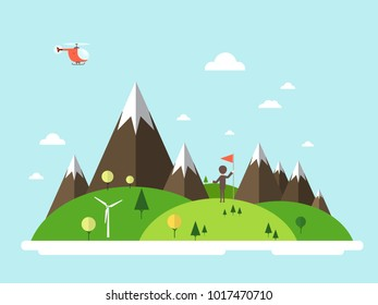 Man with Flag on Island, Helicopter on Sky. Vector Flat Design Landscape.
