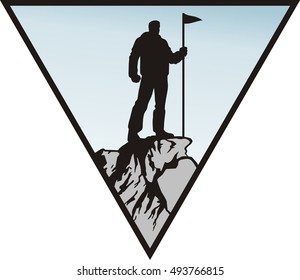 man with the flag on the top of rock, vector illustration