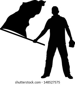 Man with flag silhouette