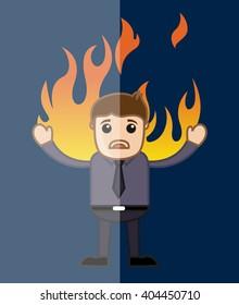 Man in flames Cartoon Vector