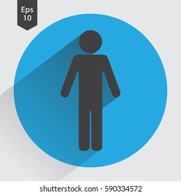 Man Flat Icon. Simple Standing Man Sign. Symbol Of Toilet. Vector Illustration