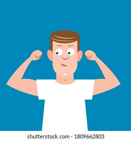 Man flexing arm muscles and showing strength and fitness