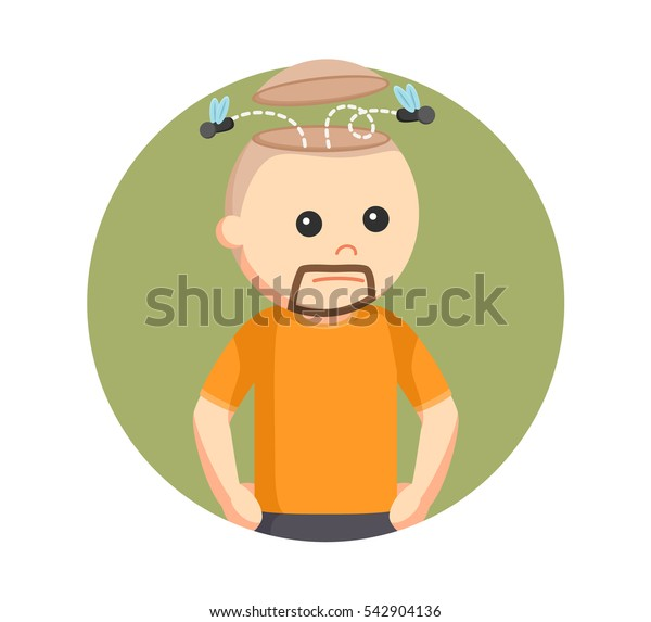 man with flies in his head