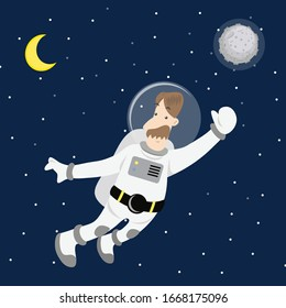 A man floating in space.