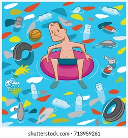 A man floats in an inflatable tube amidst a sea of garbage.