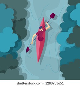 Man floats on the river in a kayak. Kayaking on the river. Rafting on kayak.Vector illustration in flat style