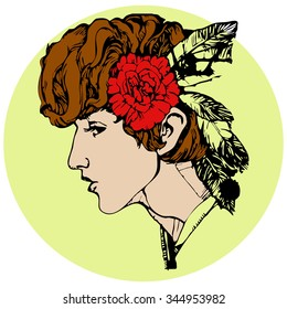 a man with a flower in hair