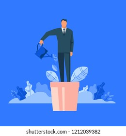 Man in flowerpot watering himself. Flat design vector illustration concept for self-improvement, personal development, professional growth isolated on bright background