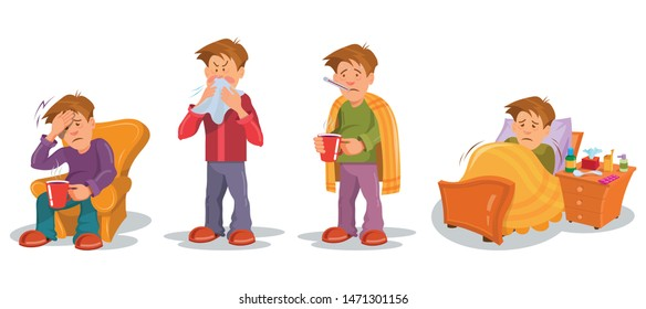 Man with Flu sickness in different poses . Sick people characters set. Sick person having cold. Ill man headache. Medicine for the disease. Flu illness person. Сartoon sick man. Vector graphics