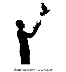 The man with flying bird silhouette vector. Liberal concept.