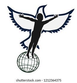 Man with flying bird silhouette vector. Liberal concept. Symbol of peace and freedom.