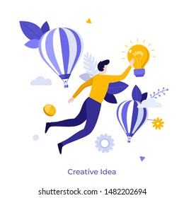 Man flying or floating in air and touching glowing light bulb. Concept of creativity, creative, innovative and inspiring idea for business, breakthrough. Flat cartoon colorful vector illustration.