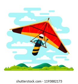 Man flying hang glider. Vector flat style design illustration. Hang gliding extreme air sport concept.
