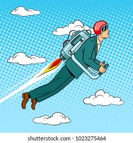 Man flying jet pack pop art style vector illustration. Human illustration. Comic book style imitation. Vintage retro style.
