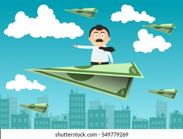 a man is flying on an airplane made of money against the sky, city, clouds - vector illustration