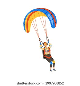 Man Flying Paraglider Descenting Using Parachute Vector Illustration