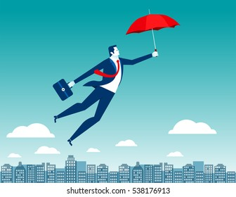 Man flying in the sky above the city with red umbrella in his hand. Concept business illustration. Vector flat