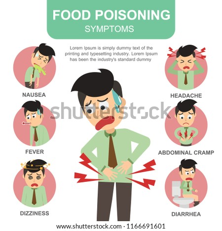 Man Food Poisoning Symptoms Medical Concept Stock Vector Royalty