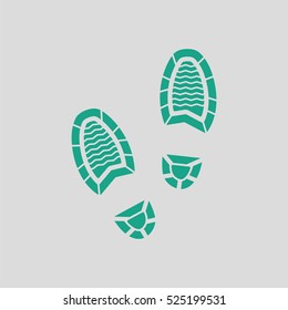 Man footprint icon. Gray background with green. Vector illustration.