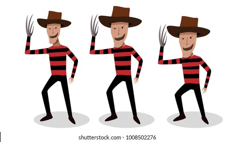 Man in Freddy Krueger costume in vector design