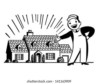 Man WIth Freshly Painted House - Retro Clip Art Illustration