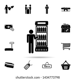 a man at the fridge with drinks icon. Universal set of shop for website design and development, app development