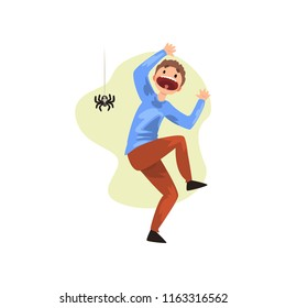 Man frightened by spider, guy suffering from arachnophobia, human fear concept vector Illustration on a white background