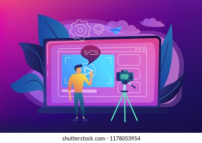 A man in front of camera recording a video to share it in internet. Vloger shares a bradcast in blog or video log. Video bloging, web television or embedded video concept. Vector illustration.