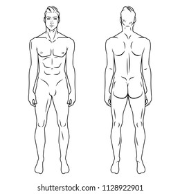 Man full body front and back view template. Vector illustration set.