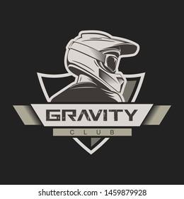 Man with full face motocross helmet. T-shirt print design. Bike school. Bikepark logo. Freeride, downhill mountain biking and motocross design.
