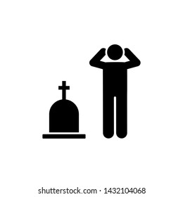 Man funeral cry sorrow icon. Element of pictogram death illustration