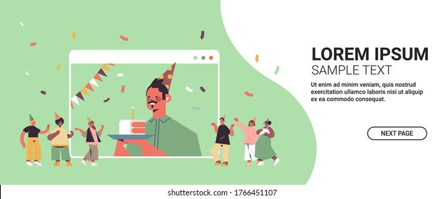man in funny festive hat celebrating online birthday party happy guy in computer window holding cake celebration self isolation quarantine concept horizontal copy space vector illustration