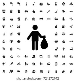 Man with garbage icon. set of filled cleaning icons.