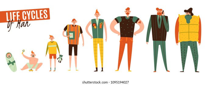 Man generation collection of colored isolated icons set with all age categories from infancy to maturity  flat vector illustration