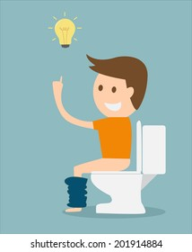 man get idea in toilet,Business concept