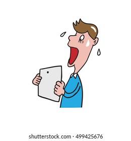 Man get shocked news on tablet cartoon drawing